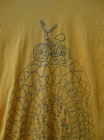 yellow-blue bicycle shirt detail