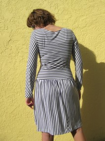 striped jersey dress, back view