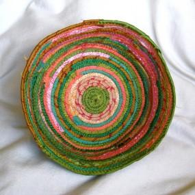 green and coral silk bowl
