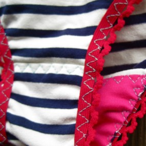 red nautical panties detail