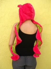 pink fur hood