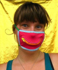 Hannah models a mask