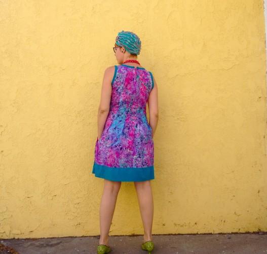 sleeveless galaxy dress, made by Julianne