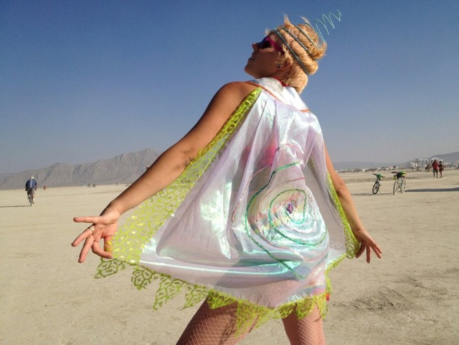 spiral galaxy cape, Burning Man 2013, made by Julianne