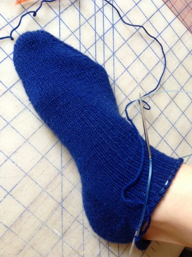 knit navy socks, made by Julianne