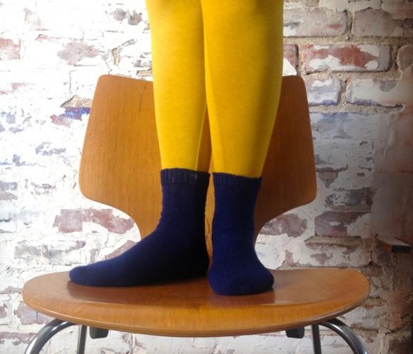 knit navy socks, made by Julianne