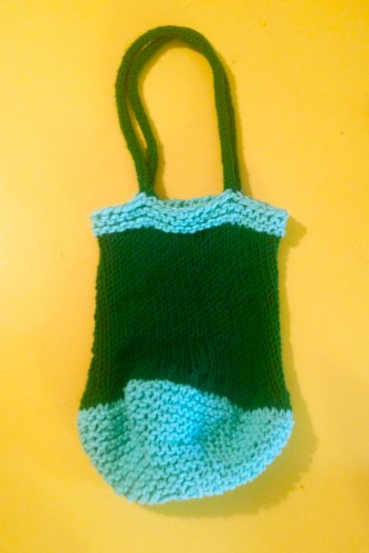 green knit shopping bag, made by Julianne