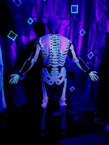 blacklight skeleton costume, made by Julianne