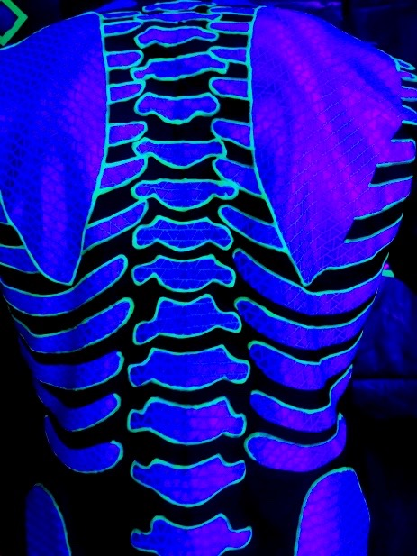blacklight skeleton costume, made by Julianne